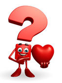 Question Mark character with heart — Stock Photo