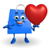 Shopping bag character with heart — Foto de Stock