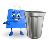 Shopping bag character with dustbin — Stock Photo