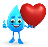 Water Drop Character with red heart — Stock Photo