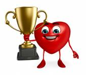 Heart Shape character with trophy — Stock Photo