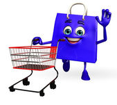 Shopping bag character with trolley — Стоковое фото