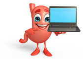 Stomach with Laptop — Stock Photo