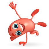 Cartoon Character of stomach with hand standing pose — Stock Photo