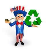 Uncle Sam with recycle icon  — Stock Photo