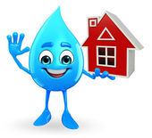 Water Drop Character with home — Stock Photo