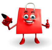 Shopping bag character with pen — Stock Photo