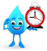 Water Drop Character with table clock — Stock Photo