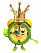 Table clock character with crown — Stock Photo
