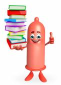 Condom Character with pile of books — Stockfoto