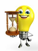 Light Bulb Character with sand clock — Stok fotoğraf