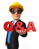 Young Business Man with Q & A — Stok fotoğraf