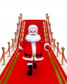 Santa Claus with red carpet — Stock Photo