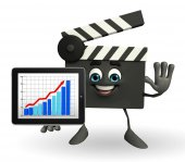 Clapper Board Character with business graph — Stock fotografie