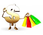 Dollar Character with shopping bags — Stock Photo