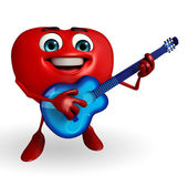 Heart Shape character with guitar — ストック写真
