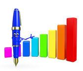 Caractere de caneta com gráfico de negócios — Fotografia Stock