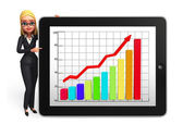 Young Business Woman with business graph — Stok fotoğraf