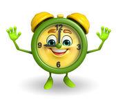 Happy Table clock character — Stock Photo