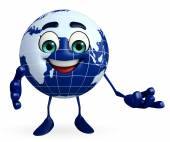 Earth Character with presenting pose — Stock Photo