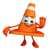 Construction Cone Character with stop pose — Foto de Stock