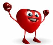 Heart Shape character with boxing gloves — Foto de Stock