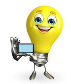 Light Bulb Character with mobile — Foto de Stock
