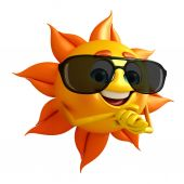 Sun Character With Sun glasses — Stok fotoğraf