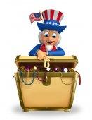 Uncle Sam with treasure box — Stock Photo