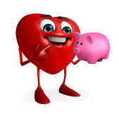 Heart Shape character with piggy bank — ストック写真