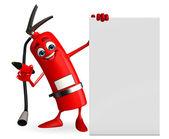 Carácter de extintor con signo — Foto de Stock