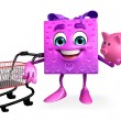 Gift Box Character with trolley — Stock Photo #55473125