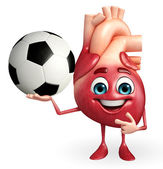 Heart character with football  — Stock Photo