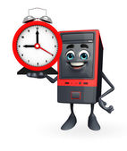 Computer Cabinet Character with table clock — Stok fotoğraf