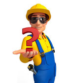 Young Mechanic with question mark — Stock Photo
