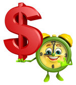 Table clock character with dollar sign — Stock Photo