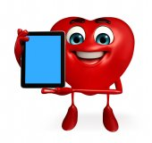 Heart Shape character with tab  — Stok fotoğraf