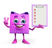 Gift Box Character with notepad — Foto de Stock