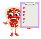 Meat steak character with notepad — Stok fotoğraf
