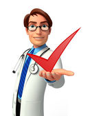 Young Doctor with right sign — Stock Photo