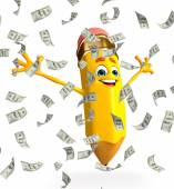 Pencil Character with dollars — Stock Photo