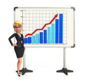 Young Business Woman with business graph — Foto Stock