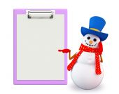 Snowman character with notepad — Stock Photo