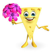 Cheese Character with flowers — Foto Stock