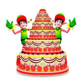 Elves character with cake — Stock Photo