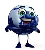 Globe Character is folding hand — Foto Stock