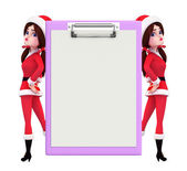 Santa Girl Character with notepad — Foto de Stock