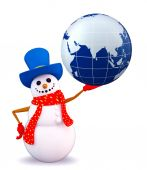 Snowman character with globe — Stock Photo
