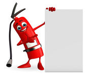 Fire Extinguisher character with sign — Foto de Stock