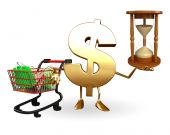 Dollar Character with sand clock and trolley — Stockfoto
